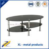 Modern Black Glass Top Metal Coffee Table