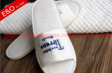 Toe Opened Towel Hotel Slipper with Embroideried Logo