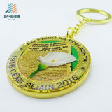 30mm Wenzhou Jiabo Custom Cheap Print Gold Metal Coin Holder Keyholder with Keyring