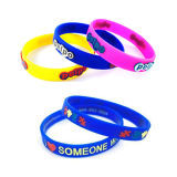 Printed Silicone Wristband with Color Filled for Promotional Gift