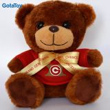 Brown Color Small Plush Toy Teddy Bear with Red Shirt and Ribbon