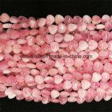 Semi Precious Stone fashion Natural Crystal Rose Quartz Hearted Bead