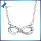 100% 925 Sterling Silver Forever Love & Pink Crystal Pendants Necklace Jewelry