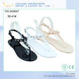 Trendy Women Ladies Flat Clip Toe PVC Sandal with Rhinestone