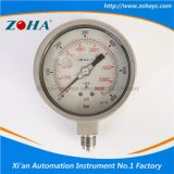 All Stainless Steel Pressure Gauge Filled with Silicone Oil and Double Scale