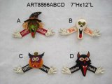 "7""Hx12""L Halloween Figurine Decoration with Sign-4asst."