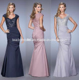 Cap Sleeves Evening Dresses Pleated Satin Prom Formal Dresses T21402
