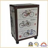 Vintage Linen Wooden 3-Drawer Small Cabinet with Bicyble Print