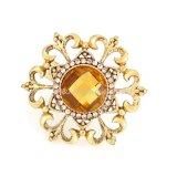 Gold Metal Alloy Rhinestone Flower Womens Finger Ring Fashion Jewelry