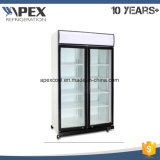 Upright Double Glass Doors Supermarket Beverage Refrigerated Display Showcase