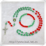 Cheap Rosary Cross Plastic Bead Necklace and Bracelet, Rosary Sets (IO-crs011)
