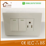 Ce Approval 2gang 1way Switch+3 Pole Electric Wall Socket