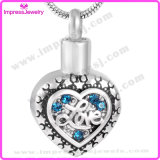 """Ijd9747 """"Love""""Engraved Heart Crystal Inlay Memorial Ashes Keepsake Holder Cremation Pendant Necklace"""