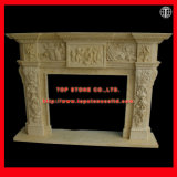 Hand Carved Marble Fireplace Mantel for Home Decoration