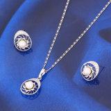 2016 Popular Rhodium Plated Bridal Jewelry Pearl Set (61398)