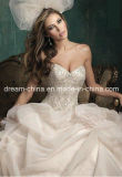 Tulle Satin Stunning Bodice Floral Decorations Woman Evening Wedding Dress (Dream-100036)