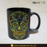 Skull Head Black Cermic Mug with Colors Laser Painting