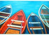 Modern Abstract Four Boat Painting for Home Decor (LH-013000)