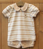 Organic Baby Girl Shirt Nature Stripes Certified by Gots Ocs100