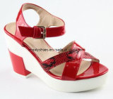 Platform Design High Heel Lady Sandal with White Outsole