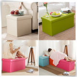 Foldable Wooden MDF Storage Jute Table Pouffor Sale