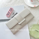 Leather Trifold Wallet with Money Clip for Women