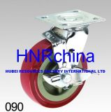 Red PU Tread Swivel with Brake Caster