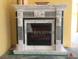 Cararra White Marble Fireplace with Carved for Home Decoraction