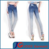 Gradient Light Blue Feet Lace Women Denim Jeans (JC1200)