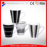 V Shape Mug with Black White Designs Ceramic Mug
