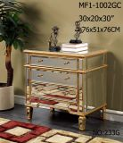 Big Storage 3 Drawer Golden Mirror Cabinet