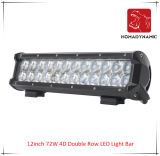 LED Car Light of 12inch 72W 4D Double Row LED Light Bar Waterproof for SUV Car LED off Road Light and LED Driving Light