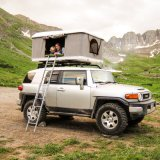 White Shell Gray Canvas Fiberglass Hard Top Roof Tent Camping Tent