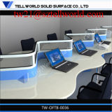 Acrylic Solid Surface Office Countertop Corian White Stone Circle Style Office Staff Workstation
