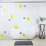 China Factory Wholesale PEVA Shower Curtain with Yellow Frog