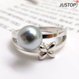 Black Shell Pearl Bowknot Silver Platinum Ring for Women