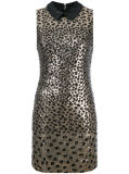 Golden Foil Jacquard Leopard Dress