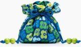 Navy Blue&Lime Green Floral Drawstring Jewellery Bag