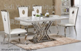 China Supplier Silver Stainless Steel Frame Dining Table Marble Top with Dining Chair for Home Furniture
