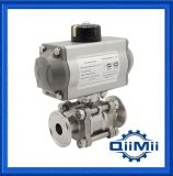 Sanitary Stainless Steel SUS316L Clamp Pneumatic Three Pieces Ball Valve