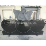Black Granite Angel Monument with Triple Heart