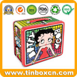 Rectangular Lunch Tin Case with Plastic Handle and Clasp, Metal Packaging Box for Food and Gifts, Custom Betty Container