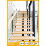Modern Indoor Wooden Straight Staircase with Glass Railing