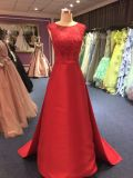 Red Taiwan 395 Satin Wedding Evening Dress with Lace Appliques Bodice