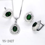 New Designs 925 Silver CZ Jewelry Set with Silver Plated