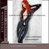 Sexy Black Lady Bodysuit Leather Catsuit Lingerie (TXX039)