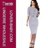 Stylish Office Ladies Women Peplum Dresses (L36001-2)
