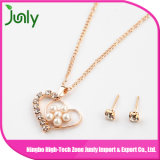 Imitation Women Fashion Gold Pearl Pendant Necklace Fashion Jewelry with Earring