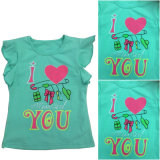 Girl Knitting T-Shirt, Fashion Girl T-Shirt with Print in Hot Sale