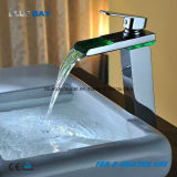 Brass Chrome Finished LED Bathroom Waterfall Wash Hand Basin Tap